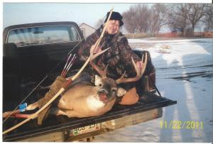 Deer taken with her bamboo backed hickory longbow